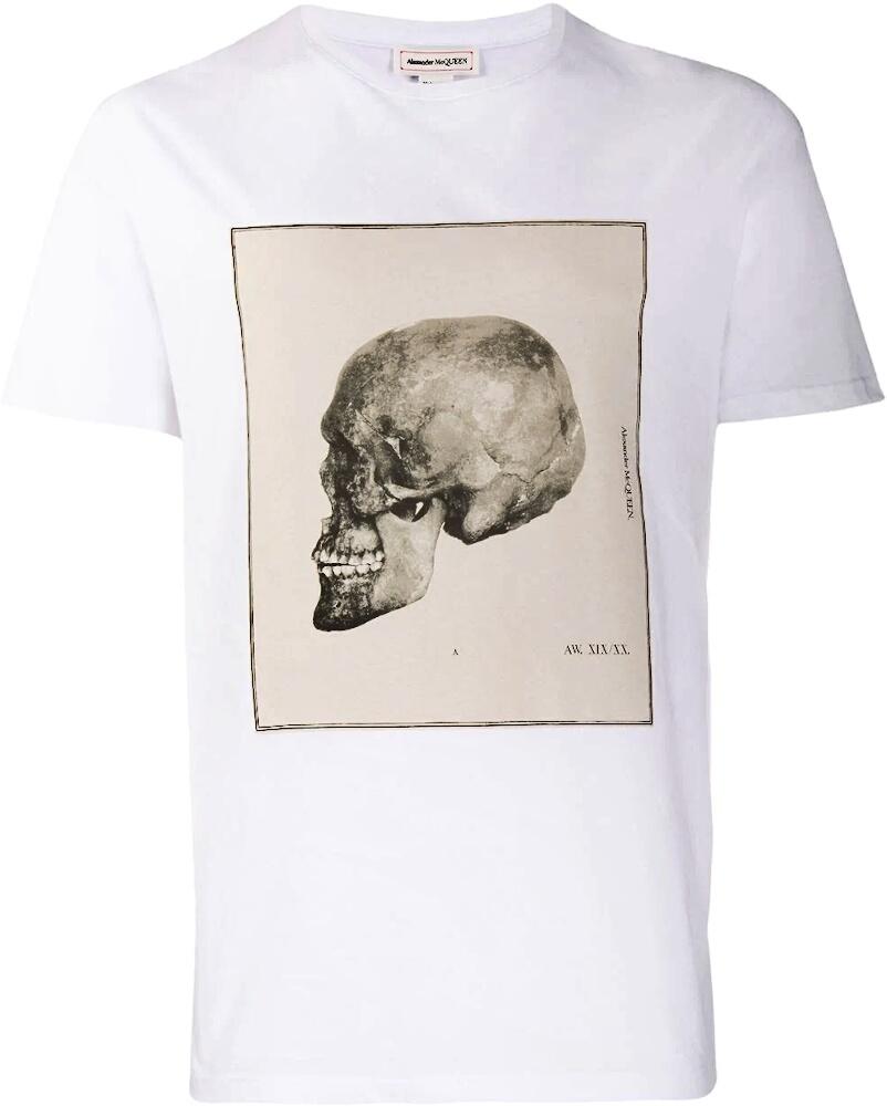 Alexander Mcqueen Skull Print White T Shirt