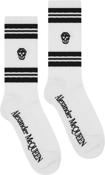 Alexander Mcqueen White And Black Stripe Skull Socks