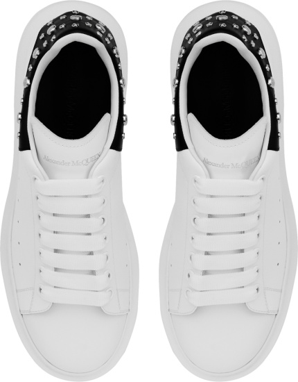 Alexander Mcqueen White And Black Studded Heel Oversized Chunky Sneakers