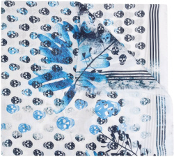 Alexander Mcqueen White And Blue Skull And Floral Print Scarf
