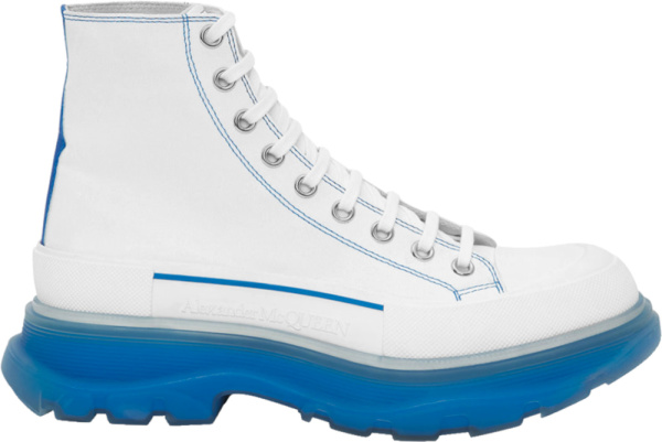Alexander Mcqueen White And Light Blue Clear Sole Tread Slick Boots