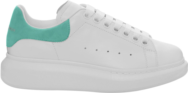 Alexander Mcqueen White And Light Blue Green Suede Oversized Sneakers