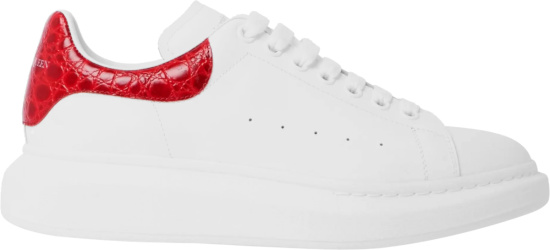 Alexander Mcqueen White And Red Crocodile Oversized Larry Sneakers