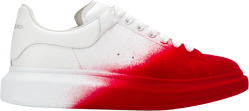 Alexander Mcqueen White And Red Spray Paint Oversized Sneakers