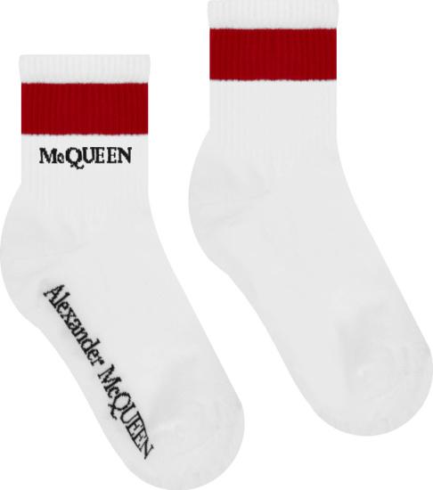 Alexander Mcqueen White And Red Stripe Logo Socks