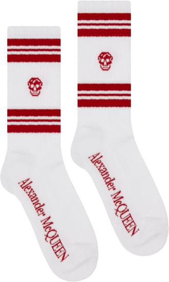 Alexander Mcqueen White And Red Stripe Skull Socks