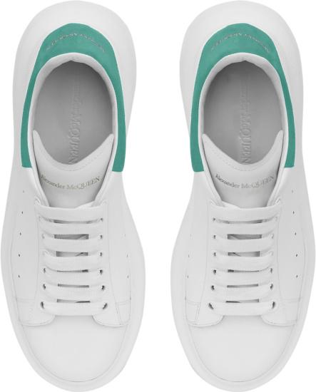 Alexander Mcqueen White And Teal Suede Heel Oversized Sneakers