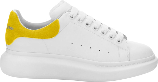 Alexander Mcqueen White And Yellow Suede Oversized Sneakers