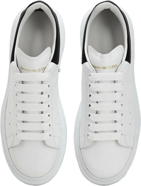 Alexander Mcqueen White Black Leather Oversized Sole Sneakers