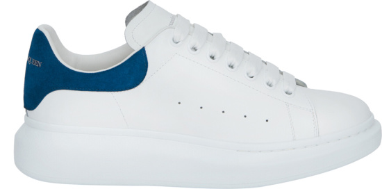 Alexander Mcqueen White Blue Suede Oversized Sneakers