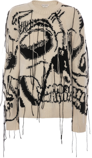 Alexander Mcqueen White Exploded Skull Sweater