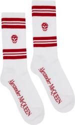 Alexander Mcqueen White Red Striped Skull Socks