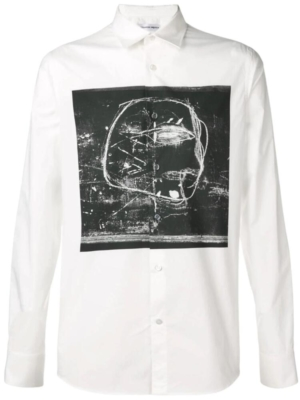 Alexander Mcqueen White Shirt With Black Abstract Print Shirt