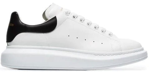 Alexander Mcqueen White Sneakers With Black Leather Achilles Support