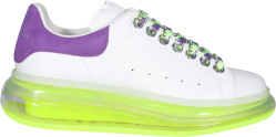 Alexander White Purple Suede And Neon Yellow Clear Sole Oversized Sneakers