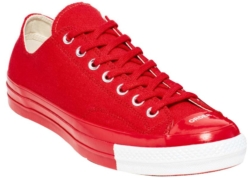All Red Sneakers With White Mid Sole Around The Toe
