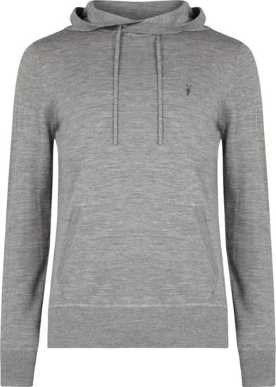 Allsaints Dark Grey Wool Knit Hoodie