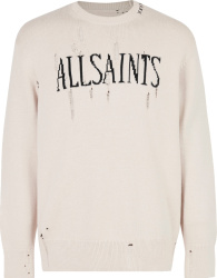 Allsaints Ivory And Black Logo Distressed Sweater