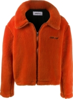 Orange Fleece Bomber Jacket