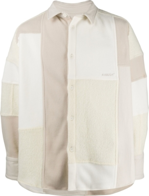 Ambush White Patchwork Fleece Jacket