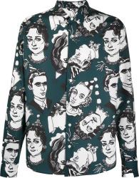 Ami Paris Dark Green Face Print Shirt