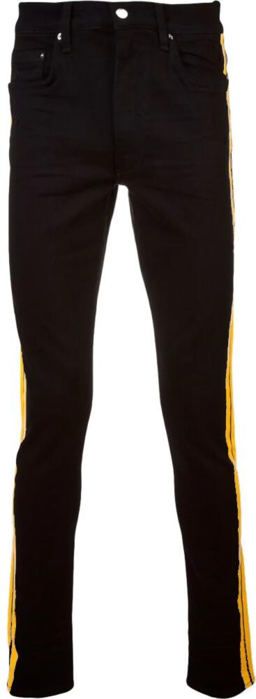 Amir Black Jeans With Yellow Side Strpe