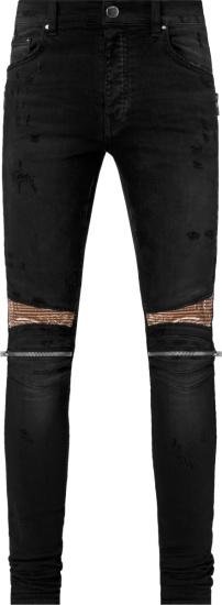 Amiri Antique Black And Brown Bandana Mx2 Jeans