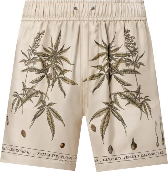 Amiri Ivory Cannabis Leaf Shorts