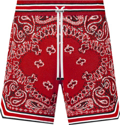 Amiri Red Bandana Crocheted Shorts