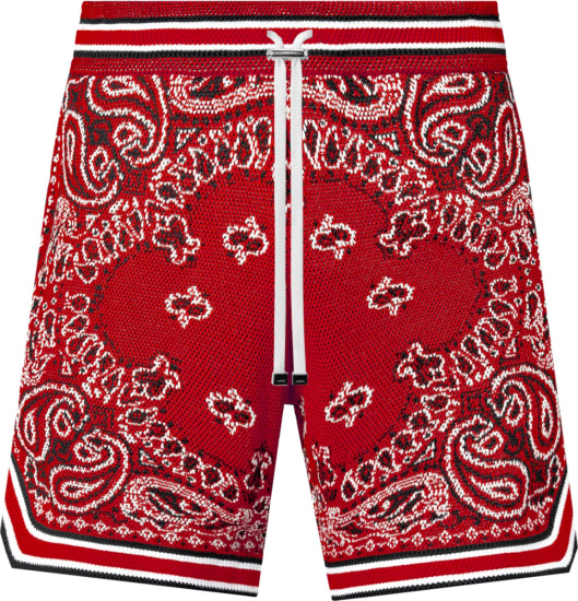 Amiri Red Bandana Crocheted Shorts