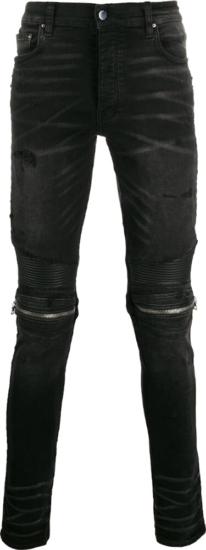 Amiri Zip Embellished Distressed Black Jeans