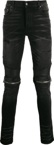 Amiri Zip Embellished Distressed Black Jeans