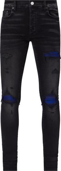 Amiri Aged Black And Blue Plaid Mx1 Jeans