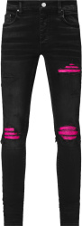 Amiri Aged Black And Cracked Neon Pink Leather Underpatch Mx1 Jeans