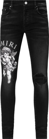 Amiri Aged Black Cherub Print Distressed Jeans