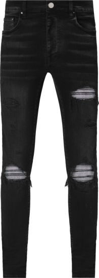 Amiri Aged Black Denim And Iridescent Underpatch Mx1 Jeans