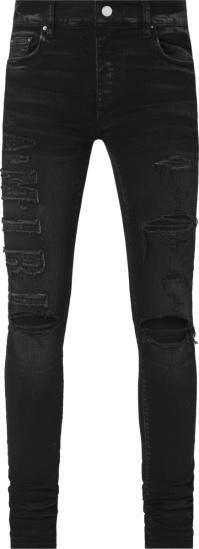 Amiri Aged Black Logo Applique Jeans