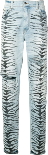 Amiri Allover Tiger Print Light Wash Jeans
