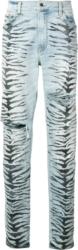 Amiri Allover Tiger Print Light Wash Jeans