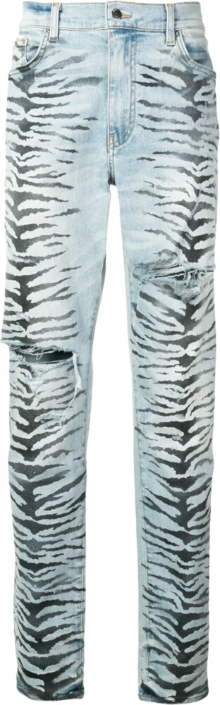 Tiger Print Light Wash Jeans