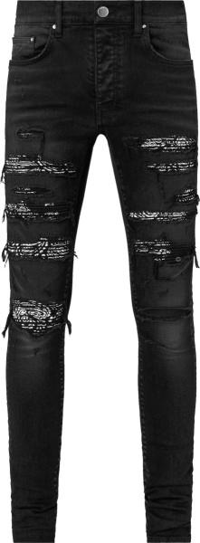Amiri Antique Black Bandana Thrash Jeans
