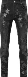 Amiri Antique Black Chemist Stars Leather Patch Jeans