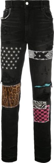 Amiri Art Patch Black Faded Jeans