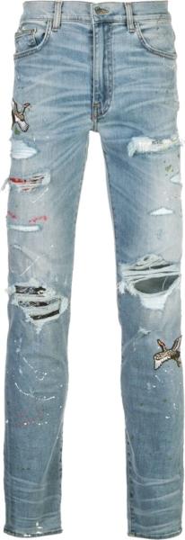 Amiri Art Patch Slim Fit Blue Jeans