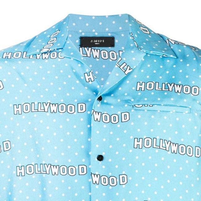 Amiri Baby Blue Hollywood Print Shirt