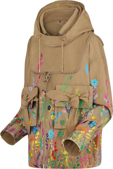 Amiri Beige And Multicolor Floral Anorak Jacket
