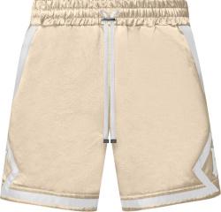 Amiri Beige And White Ma Logo Satin Shorts