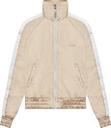 Amiri Beige And White Stripe Satin Track Jacket