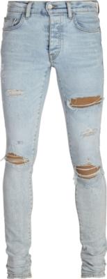 Amiri Beige Cashmere Underpatch Light Wash Jeans