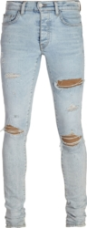 Beige Underpatch Distressed Light Jeans
